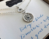 Dandelion mother daughter necklace, mother of the bride gift, sterling silver charm, mother daughter jewelry sets, gift for mom