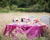 Dark Pink high end luxury sequin tablecloths for the ultimate Pretty in Pink or glam inspired wedding or event