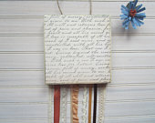 Decorative Wood Wall Hanging with Ribbon and Lace Streamers, Love Letter, Gift Idea