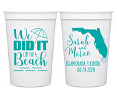 Destination Wedding Cups Beach Wedding Favors With Map Plastic Beach Cups Wedding Party Favors Beach Wedding Decor We Did It On The Beach 1C