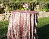 Different sizes Rose Gold high end luxury sequin tablecloths for the ultimate vintage inspired wedding or event