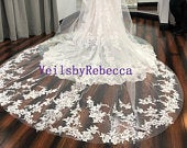 Dramatic scattered lace applique cathedral veil, beading lace applique wedding veil cathedral, Royal sequin lace veil V902