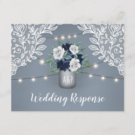 Dusty Blue Country Lace Mason Jar Wedding RSVP Invitation Postcard