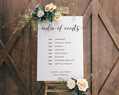 Editable Order Of Events Wedding Sign Wedding Day Timeline Sign Modern Rustic Wedding Sign Rustic Elegance PTC01