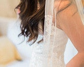 Eliza Bridal Tulle and French lace Fingertip Veil in ivory