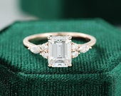 Emerald cut Moissanite engagement ring vintage diamond Cluster ring unique rose gold engagement ring for women Marquise Bridal Promise gift