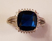 Engagement Blue Sapphire Quartz White Topaz Emerald and Round Cut Gemstone Sterling Silver Ring, 4.25 ct. Size 8