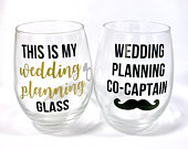 Engagement Gift, Wedding Planning Wine Glass, Engagement Glasses, Engagement Gift Set, Gift for Couple, Personalized Engagement Gift