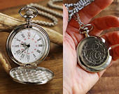 Engraved Silver Pocket Watch, Personalized Groomsmen Gifts Engraved Wedding Date Anniversary Gift For Men