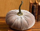 Extra Large Velvet Pumpkin Taupe, home decor trend, Fall wedding centerpiece, rustic wedding decor, farmhouse decor, best selling item