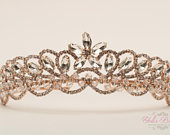 FAST SHIPPING!!! Rose Gold Sparkling Tiara, Crystal Tiara, Wedding Tiara, Crown, Princess Tiara, Quinceaera, Sweet 16 Rose Gold Tiara