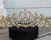 FAST Shipping!!! Gold Swarovski Tiara, CristalTiara, Wedding Tiara, Crown, Princess Tiara, Quinceaera Tiara, Sweet 16 Tiara, Confirmation