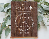 FAUX WOOD Welcome Sign, Wooden sign, Rustic wedding sign, Digital poster, Editable template, Temlett, Printable sign, Personalized sign