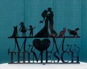 Family Silhouette Wedding Cake Topper Bride Groom with Pets/Kids Dog Wedding Cake Topper Personalized Name Cake Topper Engraved