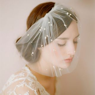 Faux Pearl Embellished Wedding Birdcage Veil