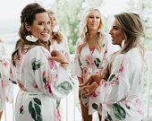 Floral Bridesmaid Robes Boho Robe Boho Bridesmaid Robes Floral Print Robes Pretty Satin Bridesmaid Getting Ready Wedding Robes (EB3320M)