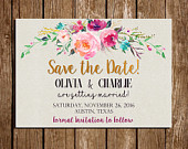 Floral Watercolor Save the Date Digital Download Printable ANY OCCASION