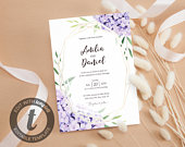 Floral Wedding invitation templates. Instant download. Fully editable. Wedding invite card printable. Watercolor Hydrangea flower. Templett