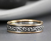 Flourish Pattern Wedding Ring TwoTone 14 Karat and Sterling Silver Wedding Band for Women Vintage Style Unique Wedding Band