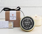 Friendsgiving Favor Candles Laurel Thankful Label Design Fall Candles Friendsgiving Candle Friendsgiving Gift