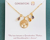 Generations Necklace Gift For Mom, Grandma, Daughter, Granddaughter, Three Generations, Grandmother Necklace, Mother Necklace, Birthstone
