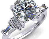Georgine Round Moissanite 4 Prong Center Baguette and Round Diamond Side Engagement Ring