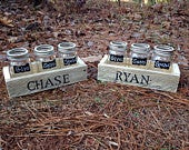 Give Save Spend gift set reclaimed wood box with mason jars Personalized Dave Ramsey inspired