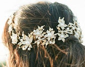 Gold Bridal Headpiece, AGNES Bridal Leaf Headpiece, Pearl Bridal Headpiece, Gold Leaf Halo, Gold Bridal Pearl Headpiece, Bridal Halo Tiara
