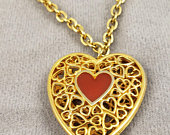 Gold Tone Filagree Heart Pendant with Gold Tone 20 Necklace