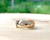Gold Victorian Buckle Ring with Mine Cut Diamond Fine Antique Vintage 10K Yellow Gold Band Unique 1800s Wedding Band WhistlingGypsyVTG