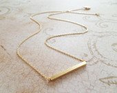Gold bar necklace...dainty handmade necklace, everyday, simple, birthday, wedding, bridesmaid jewelry