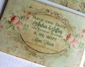 Green Floral Background Save the Date Cards Vintage Save the Date Romantic Wedding Save the Date Handmade by avintageobsession on etsy