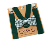 Green Gingham Bow Tie and SuspendersPERFECT for Christmas, Ring Bearer, Page Boy Outfit, Cake Smash, BABY MENS sizes, Juniper, Hunter