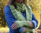 Green Shawl Scarf Shrug Cross Body Wrap Hand Knit Humane Wool Wear 3 Ways Wedding Bridesmaid