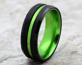 Green Tungsten Wedding Band, Tungsten Ring, Green Tungsten Band, Black Green Tungsten Ring, Black and Green Tungsten Wedding Band
