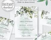 Greenery wedding invitation template Bohemian Wedding invitation Printable invites set Wedding invitations set INSTANT DOWNLOAD Corjl wd04a