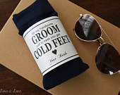 Groom Dress Socks with Personalized Gift Label Husband to Be Gift from Bride Mens Dress Socks Black Wedding Socks Cold Feet Navy