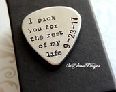 Grooms gift from Bride, Gift for Fiance, Hand stamped guitar pick, Bride to groom gift, Personalized Musician Gift, I pick you