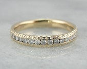 Hand Engraved Yellow Gold Channel Set Diamond Band 2ZPV5RD