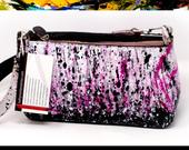 Hand Painted Vintage Leather Handbag, Clutch, Purse, Black, White, Pink, abstract original art, Bridal, Bride, Wedding, Glamour, Fashion