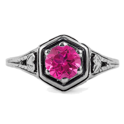 Heart Design Vintage Style Pink Topaz Ring in 14K White Gold