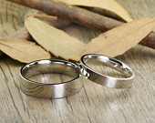 His and Her Promise Rings Sliver Wedding Titanium Rings Set