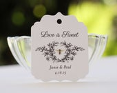 Honey Labels, Wedding Favor Tags, Personalized Gift Tags with Vintage Honey Bee, Love is Sweet, Meant to Bee Set of 20