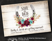 Horseshoe Save the Date Postcard Maroon Burgundy Teal Floral Western Save the Date Country Save the Date Printed or Printable