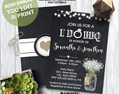 I do BBQ Invitation chalkboard baby breath mason jar couples shower engagement party invite YOU EDIT text and print yourself invite 14091