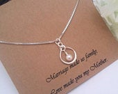 INFINITY NECKLACE, Pearl Necklace, Step mom Gift, Step mother of the Bride Gift, Step Mother of the Groom Gift, Step Mom Wedding Gift