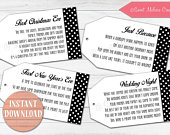 INSTANT DOWNLOAD1st Milestone Wine Poem Tags Black White PolkaDots Bridal Showers/Bachelorette Party/Wine BasketsSweet Melissa Creations