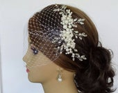 IVORY BRIDAL COMB, Faux Pearl and Rhinestone Bridal Headpiece With or Without Birdcage Veil Shania