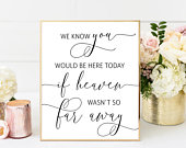 If Heaven Wasnt So Far Away, In Memory Sign, Forever in Our Hearts Sign, Wedding Signs, Printable Wedding Signs, Instant Download