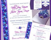 Invitations Orchid Design Wedding, Floral Wedding Invitation Suites, Custom, Blue Purple Orchid Theme, Belly Bands, Invitation Suites